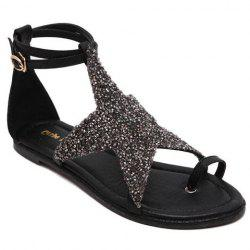 Stylish Sequined Cloth and Star Design Sandals For Women - BLACK