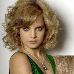 Women's Fluffy Human Hair Curly Medium Side Bang Wig -