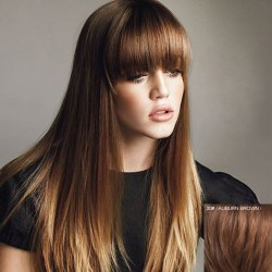 Women's Fluffy Human Hair Full Bang Long Wig -