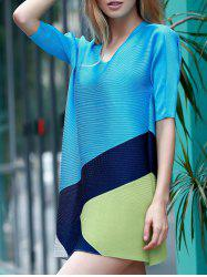 Elegant 1/2 Sleeve Color Block Dress For Women