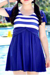Sweet Striped High Waist One-Piece Dress Swimwear For Women