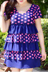 Sweet Polka Dot Print Layered One-Piece Dress Swimwear For Women