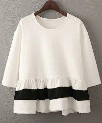 Sweet 3/4 Sleeves Round Neck Ruffled Design Women's Blouse -