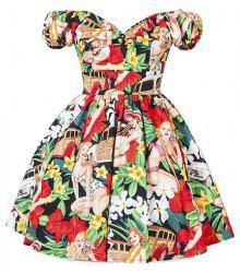 Retro Style Sweetheart Neck Short Sleeve Floral and Figure Print High Waist Mini Dress For Women -