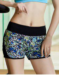 Active Style Elastic Waist Colored Leopard Print Yoga Shorts For Women -