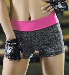 Super-Elastic Color Block Running Shorts - ROSE