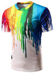 Casual Colorful Painting Pullover T-Shirt For Men - COLORFUL M