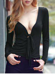Sexy Plunging Neck Long Sleeve Self-tie T-Shirt For Women