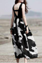 Trendy Scoop Neck Sleeveless Spliced Hollow Out Printed Women's Dress -