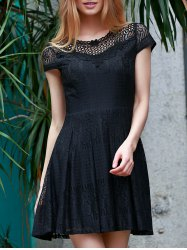Stylish Scoop Neck Short Sleeve Lace Flare Dress For Women