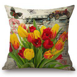 Fashionable Tulip and Butterflies Pattern Square Shape Flax Pillowcase (Without Pillow Inner) -