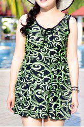 Chic Sleeveless Printed One-Piece Dress Swimwear For Women -