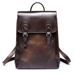 Trendy Double Buckle and Solid Color Design Backpack For Men