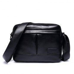 Concise PU Leather and Black Color Design Messenger Bag For Men -