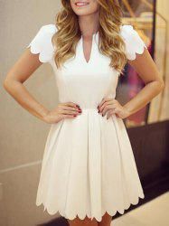 Retro Style V Neck Short Sleeves Pleated Dress For Women