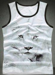 Trendy Round Neck Lion Pattern Breathable Sleeveless Men's Tank Top -