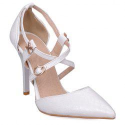 Elegant Cross Straps and Embossing Design Pumps For Women - WHITE