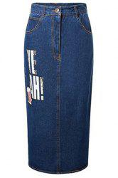 High-Waisted Slit Design Letter Print Denim Maxi Skirt With Pockets
