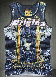 Round Neck Letters Print Bird Pattern Breathable Sleeveless Men's Tank Top -