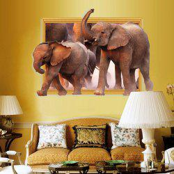 Waterproof Elephants Pattern 3D Removable Wall Stickers For Kid's Rooms