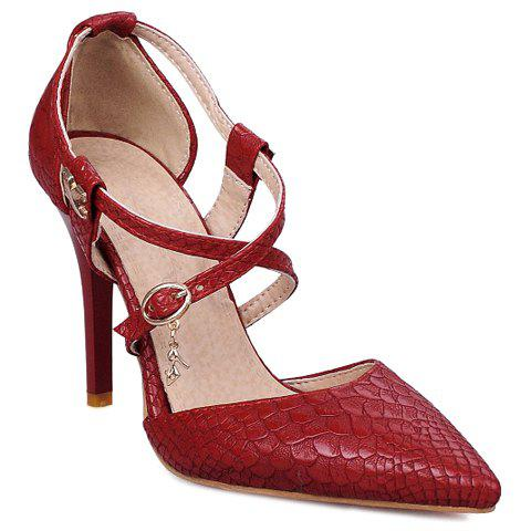 Outfits Elegant Cross Straps and Embossing Design Pumps For Women
