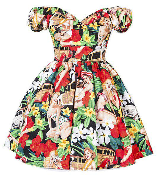 Discount Retro Style Sweetheart Neck Short Sleeve Floral and Figure Print High Waist Mini Dress For Women