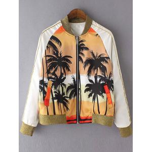 Stylish Stand Neck Long Sleeve Coconut Tree Print Women's Jacket