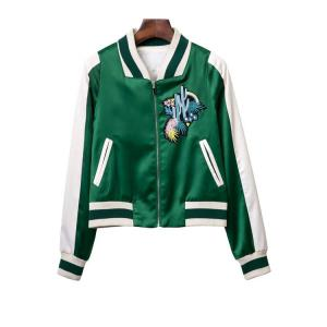 Stylish Stand Neck Long Sleeve Embroidered Women's Green Baseball Jacket - Green - S