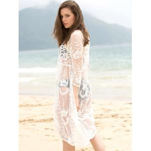 Trendy col rond manches 3/4 See-Through solide Cover-Up Femmes Couleur -