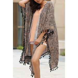 Stylish Collarless 3/4 Sleeve Ethnic Print Women's Kimono Blouse