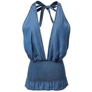 Stylish Halter Fitted Solid Color Denim Women's Tank Top