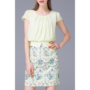 Refreshing Pleated Women's Floral Faux Twinset Dress
