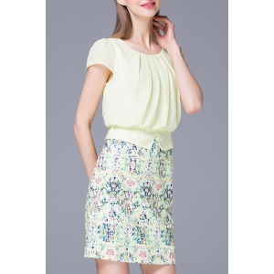 Refreshing Pleated Women's Floral Faux Twinset Dress - LIGHT GREEN M