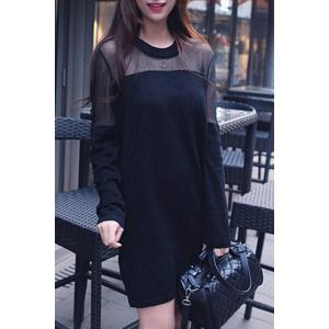 Stylish Long Sleeve Round Neck Spliced Women's Dress