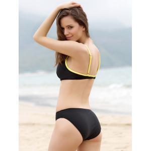 Push Up Bikini + Yellow Skirt + T-Shirt Four Piece Swimwear - BLACK M