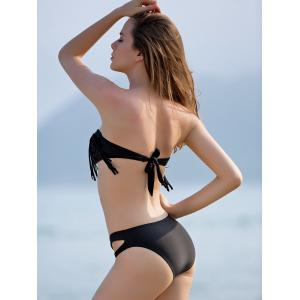 Stylish Strapless Hollow Out Fringed Black Bikini Set For Women -