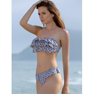 Stylish Halter Neck Printed Flounced Backless Bikini Set For Women -