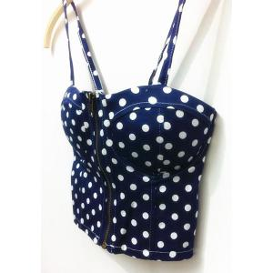 Vintage Strappy Polka Dot Crop Top For Women -