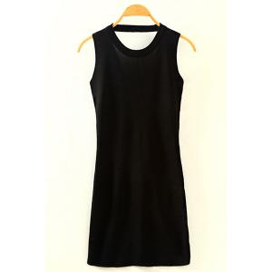 Chic Round Neck Cut Out Women's Knitted Dress -