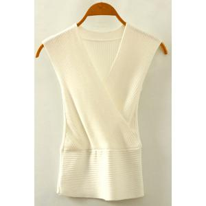 Chic V Neck Sleeveless Solid Color Women's Knitwear - White - One Size(fit Size Xs To M)