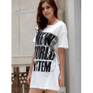 Leisure Style Round Collar Short Sleeve Letter Pattern Loose T-Shirt For Women -