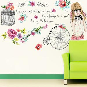 Removable Young Girl Pattern Vinyl Wall Art Stickers