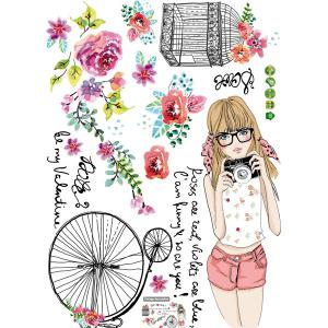 Removable Young Girl Pattern Vinyl Wall Art Stickers - COLORMIX