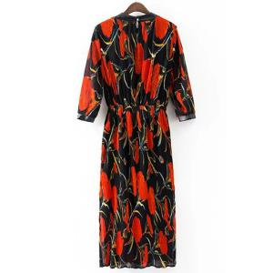 Retro Style Stand Collar 3/4 Length Sleeves Trumpet Pattern Dress For Women -