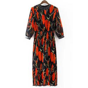 Retro Style Stand Collar 3/4 Length Sleeves Trumpet Pattern Dress For Women - BLACK L