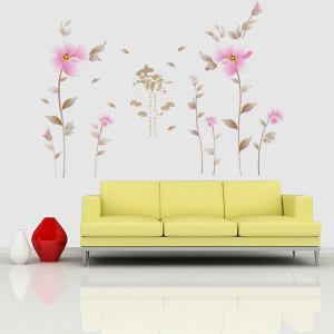 Creative Waterproof Flowers Pattern Wall Stickers For Living Room Bedroom Decoration - PINK