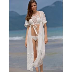 Fashionable Plunging Neck 3/4 Sleeve Lace Splicing Cover-Up Dress For Women -