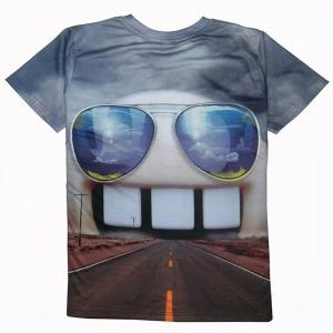 Casual Round Collar Teeth Printed T-Shirt For Men - COLORMIX S