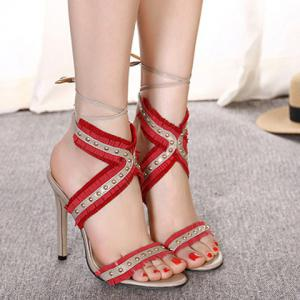High Heel Fringe Studs Tie Ankle Sandals -
