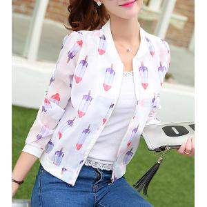 Ice Cream Print Long Sleeve Jacket -